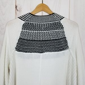 Free People Tops - Free People   Snow Day White Black Thermal Blouse